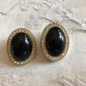 Faux Onyx & gold earrings